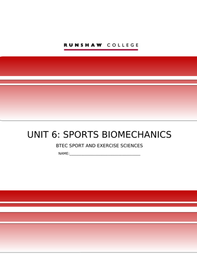 FULL UNIT QCF Unit 6 Biomechanics in Sport - Full module lessons and handouts