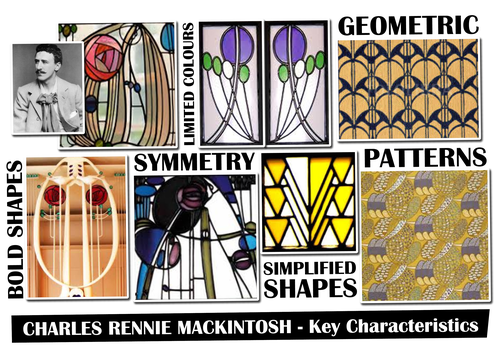 Charles Rennie MacKintosh Tile Design Worksheet and Inspiration