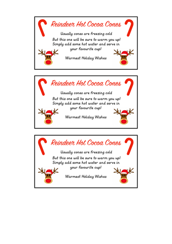 Reindeer Hot Chocolate Christmas Gift Labels