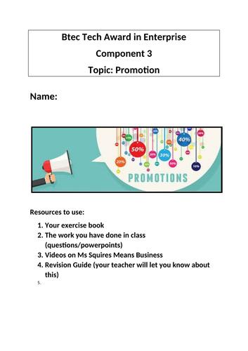 Btec Tech Award in Enterprise Component 3 Promotion Revision Booklet