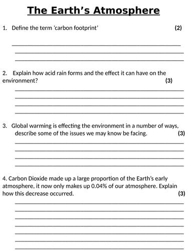 NEW AQA GCSE (2016) Chemistry  - The Earth's Atmosphere Homework