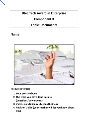 Btec Tech Award in Enterprise Component 3 Documents Fill In Revision Booklet