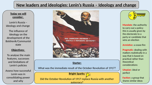 1. Lenin's Russia Ideology and Change - A Level AQA 1H Tsarist and Communist Russia
