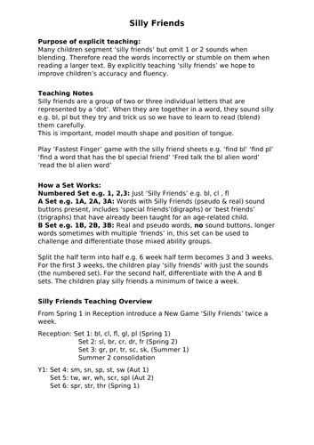 'Silly Friends' Teaching Overview