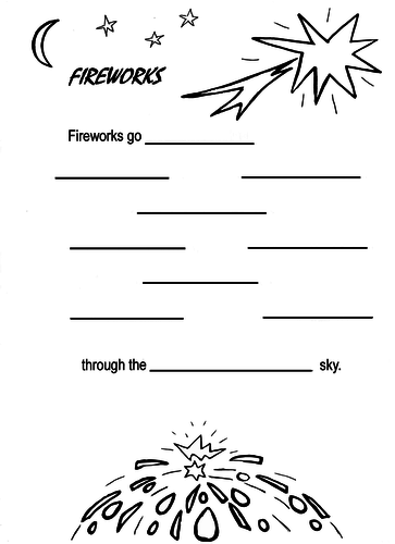 FIREWORKS GO...! Poetry Writing Sheet
