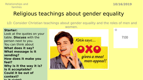 AQA GCSE RS -7 Gender equality - Theme A Relationships and Families
