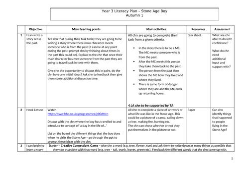 Stone Age Boy English/Literacy Plan