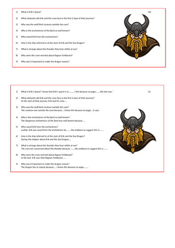 Erik the Viking Comprehension/Grammar