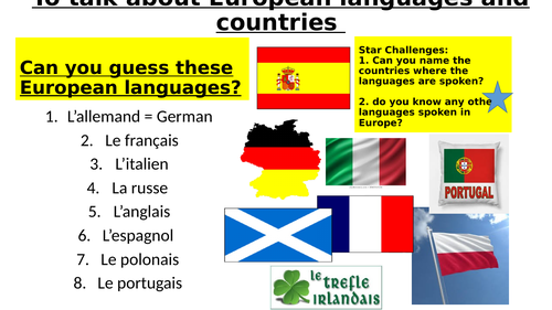 Countries and languages (Les langues et le pays en Europe)