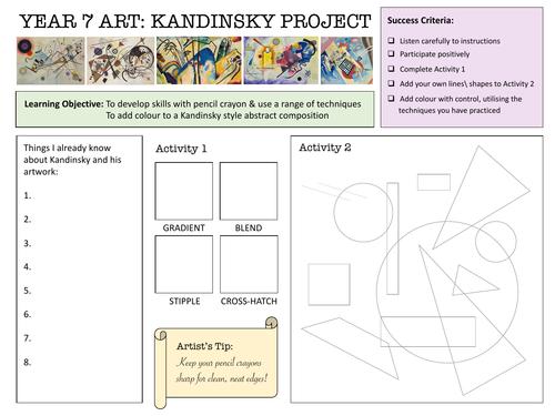 KS2/3 Kandinsky Worksheet - Colouring Pencil Techniques