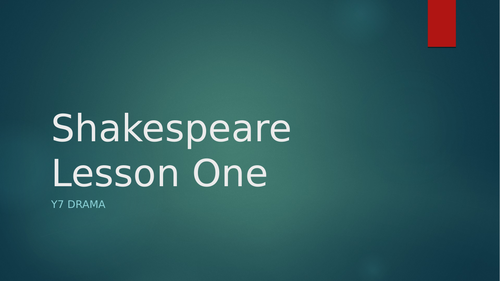 Drama - KS3 Introduction to Shakespeare - 5 Lesson SOW