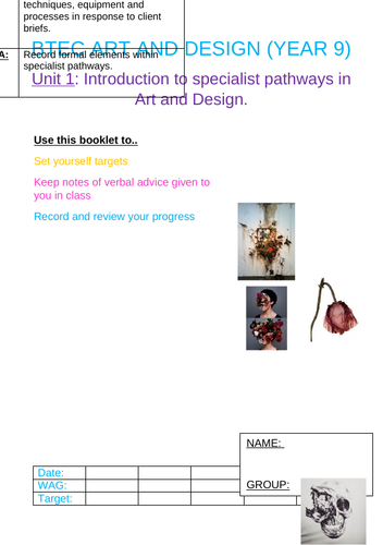 Btec Art and Design Marking Booklet.