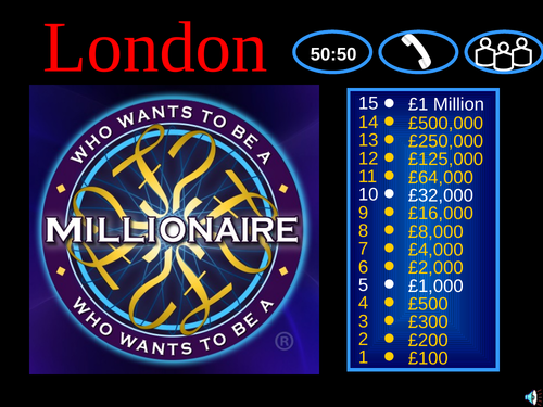 London - Who wants to be a  Millionaire quiz