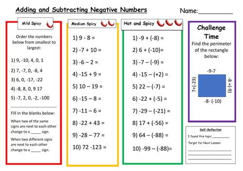 Adding and Subtracting Negative Numbers Differentiated Worksheet with Answers