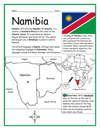 NAMIBIA - Printable handout with map and flag