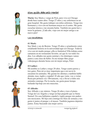 Fun Spanish Reading: Who should Maria Date? (Hobbies, Languages, Family) Lectura