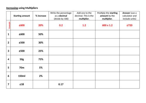 Increasing and Decreasing Using Mutlipliers