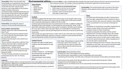A level Environmental ethics