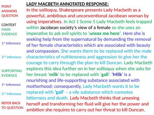 Lady Macbeth grade 7 and grade 8 response.