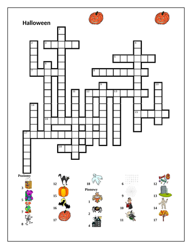 Halloween in Polish Crossword and Wordsearch