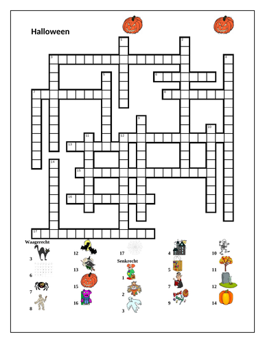 Halloween in German Crossword and Wordsearch