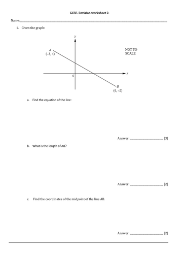 GCSE Revision worksheet+ans. Differenciation, SL Graphs, Functions, LP, Proportion, Indices, Factori