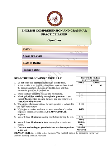 Practice paper for 11 plus English