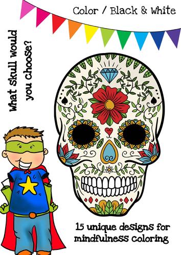 Halloween Skulls Mindfulness Coloring