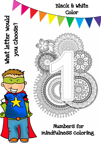 Mindfulness Colouring - Numbers