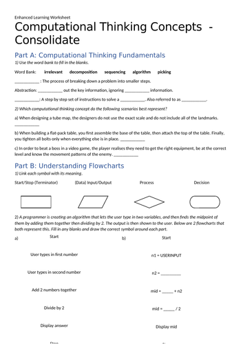 Computational Thinking - Enhanced Learning Worksheet + Answers