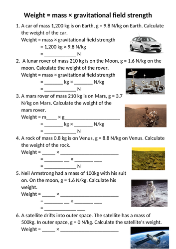 Weight worksheet KS3 (scaffolded!)