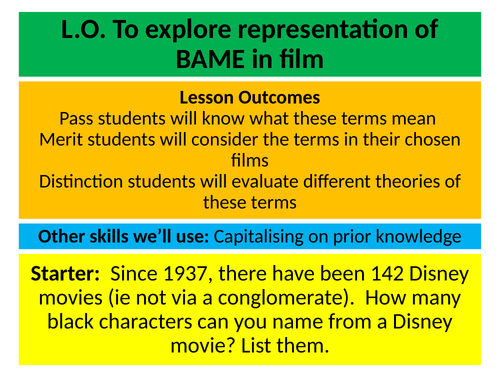 Media Key Theory Series: Lesson Explore Representation Part 2 BAME