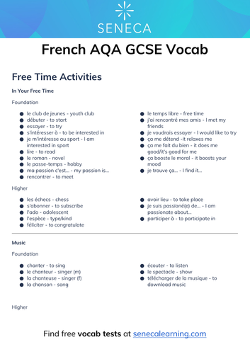 French GCSE Vocab - Free Time Activities