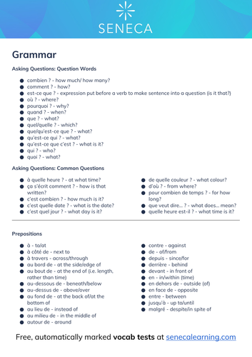 French GCSE Vocab - Grammar