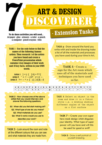 Art & Design Extension Tasks (Year 7, 8 and 9)