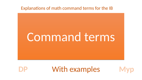 IB myp dp Math Command terms