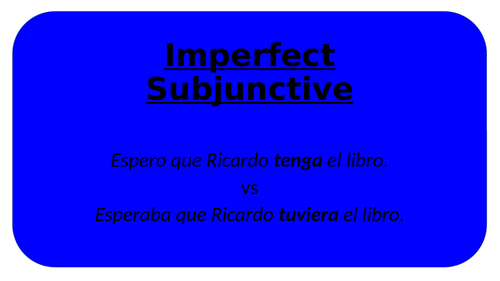 A Level  Imperfect Subjunctive