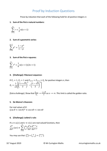 Proof by Induction Worksheet
