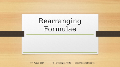Rearranging Formulae AfL Powerpoint