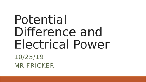 Potential Difference and Electrical Power