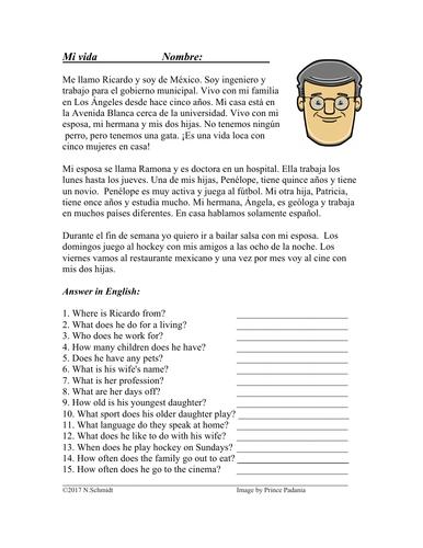 Mi vida Lectura Fácil: My Life Easy Spanish Reading