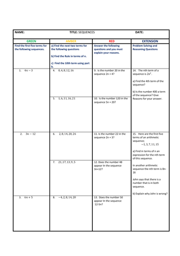 Arithmetic Sequences differentiated worksheet with solutions  GCSE Maths 9 -1