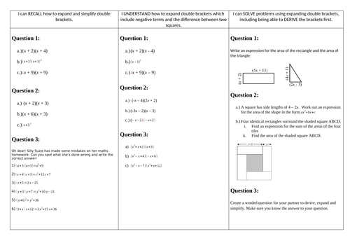 Expanding double brackets worksheet