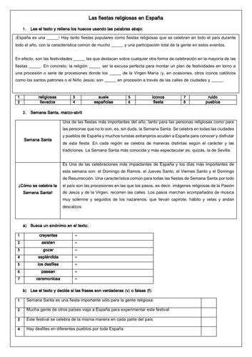 Spanish A Level tradiciones y Semana Santa: Holy Week, Easter & tradition (Reading & Translation)