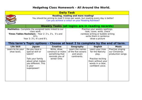 All Around the World Homework Grid