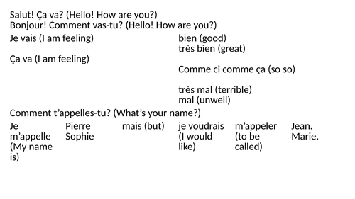Y7 French Personal Information