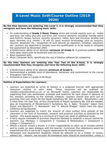 AS & A'level Music Scheme of Work (September-December term only)
