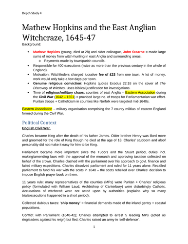 A-level Edexcel History: Witchcraft Depth Study 4 Mathew Hopkins and East Anglia