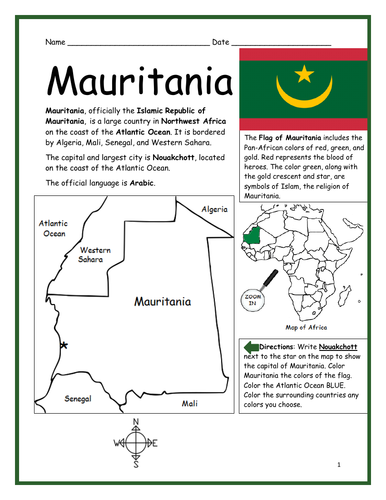 MAURITANIA - Introductory Geography Worksheet
