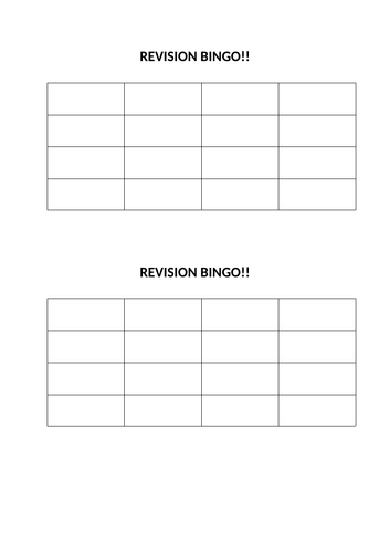 GCSE PE Health, Fitness & Well-being REVISION BINGO